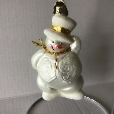 Christborn Snowman White Glass and Glitter Ornament made in Germany