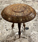 VTG 3 Leg Carved Wood Sheesham Side Table Stool Plant Stand Brass Inlay India