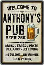 Anthony'S Pub Sign Vintage Man Cave Bar Wall Décor GiftMetal Sign 112180028025