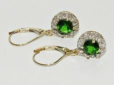 9ct Gold Russian Diopside & Diamond Dropper Earrings