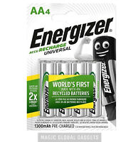 4x Energizer AA RECHARGEABLE UNIVERSAL Batteries HR6 1300mAh NiMH MN1500 Exp+