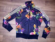 womans size 10 ladies Adidas Originals tracksuit top jacket flower rare