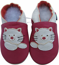 new soft sole leather baby shoes cat fuchsia 0-6m S