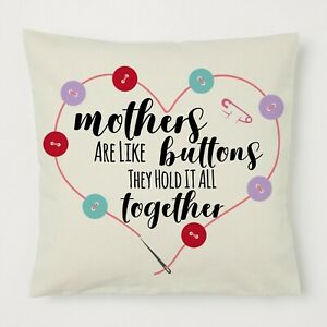 Pillow Mummy Mothers Day Birthday Gift Mum Granny Nanny Her Button Together