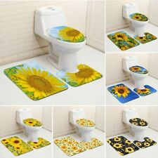 Sunflower Printed 3pcs Bathroom Set Bath Mat Contour Rug Toilet Lid Anti-slip