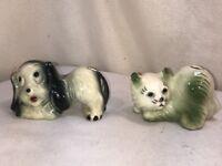 Vtg PAIR Mid-Century Pottery Air Wick Cat DOG Figurine pencil Holder Bud Vase