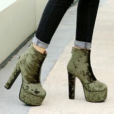 Womens Zip High Heel Block Platform Ankle Boots Party Shoes AU Plus Size 2-13
