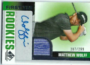 MATTHEW WOLFF 2021 UD SP GAME USED GOLF /299 AUTO SHIRT RC ROOKIES