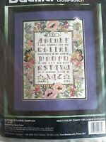 ALPHABET FLORAL SAMPLER  counted cross stitch kit, Bucilla Sealed Rossi