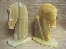 2 Different Handcrafted HORSE HEAD QUARTZ / ALABASTER / MARBLE BOOK ENDS