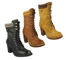 LADIES SPOT ON  HIGH HEEL LACE UP ROUND TOE MID CALF WINTER BOOTS F50323
