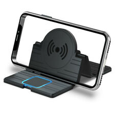 2-IN-1 QI Wireless Car Phone Charger Charging Pad Mat Fits iPhone Samsung Black