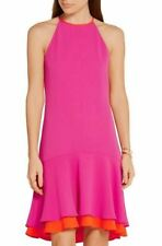 SZ 14 Diane Von Furstenberg Vivid Pink Orange Halter Kera Combo Dress NWT