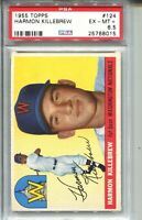 1955 Topps Baseball #124 Harmon Killebrew Rookie Card RC Graded PSA EX MINT+ 6.5