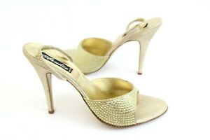 Claudio Milano Womens Shoes Gold Leather Crystal Size 40 Italy (US 9.5) 541