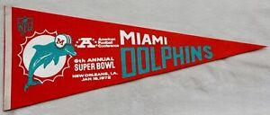 vintage Miami Dolphins pennant Super Bowl 6