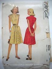 1940's V Neck one piece dress with ties belts girls pattern 6656 size 12