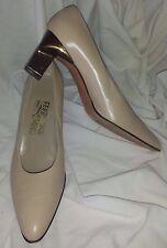 Salvatore Ferragamo Pump Shoe 8-1/2 AAA Narrow Tan Bronze Heel 8.5 Italy Women's