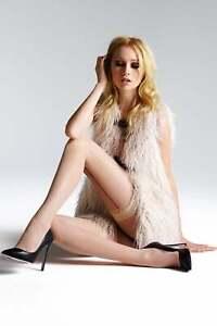 Jonathan Aston Vintage Legs Contrast Seam & Heel Hold Ups Nude/Back Size C