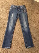 Girls Justice Skeleton Skinny Simply Low Jeans Sz 12R Some Wear