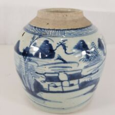 Antique Chinese Blue And White Ginger Jar Landscape 16cm high