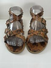 Matisse MARLOW Strappy Sandals Brown Reptile Print Studded Women's Size: 7- NEW