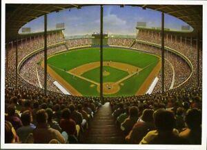 Bill Goff Art Postcard Cavernous Cleveland Stadium CLEVELAND INDIANS 1990