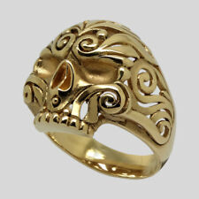Mexican Sugar Skull 14K Gold Ring Biker Memento Mori Floral Size 11.5 UNIQABLE