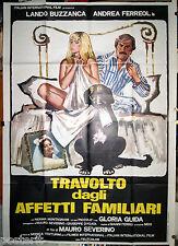 manifesto 4F film TRAVOLTO DAGLI AFFETTI FAMILIARI Gloria Guida Lando Buzzanca