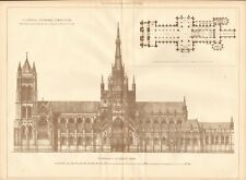 1902  ANTIQUE PRINT- ARCHITECTURE - LIVERPOOL CATHEDRAL COMPETITION, OLDRID SCOT
