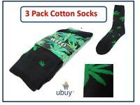 Cotton SOCKS Weed Cannabis Leaf  3 Pairs Soft Mens Formal Ankle Socks Black SOFT