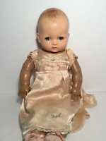 "Vintage Ideal Plastic Composition Doll w/Blue Gold Sleep Eyes Cloth Body, 18"""