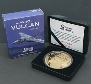 RAF Avro Vulcan Luxe Edition 24 Carat Gold Plated Medallion with Case & COA