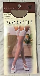Vassarette Specialty Lace Trim Sheer Nylon Leg Sexy For Garters Stockings New