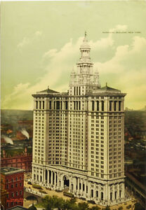 Vintage Print NYC - The Municipal Building, New York - 1910's Lithograph