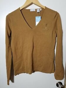 1 NWT OXFORD GOLF WOMEN'S SWEATER, SIZE: SMALL, COLOR: ADOBE BROWN (J178)