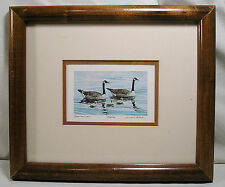 """Canada Goose Print """"Three in a Row"""" Lithograph Signed Gerald Lubeck, Numbered"""
