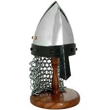 More details for replica medieval  armor helmet with chain mail norman helmet with wooden stand