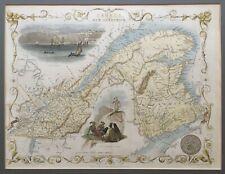 1851 Antique Map; East Canada and New Brunswick, Canada - John Tallis / Rapkin
