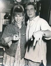 DEBBIE GIBSON W/ BRAD PITT  - ORIGINAL CANDID PHOTO - 1988