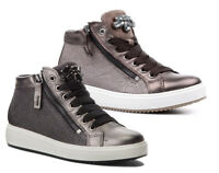 IGI & CO 21546 scarpe donna sneakers gioiello zeppa pelle camoscio tessuto zip