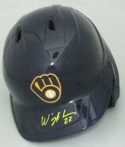 Brewers WILLY ADAMES Signed Full Size Milwaukee Rawlings Helmet AUTO - JSA