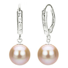 Sterling Silver 9-10mm Round Pink Cultured Freshwater Pearl Leverback Earring