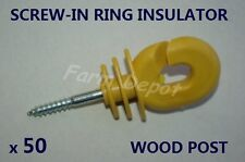 ELECTRIC FENCE SCREW IN RING INSULATOR SUPPORT WIRE POLY TAPE 4  WOOD POST