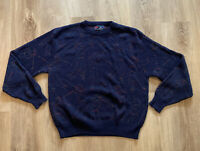 Vtg Mens Golf Sweater Isle of Cotton Size Large Made in USA Blue Swinging Golfer