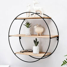 Round Shelf Wall Retro Wood Industrial Style Metal Shelf Rack Storage Shelf