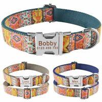 Tribal Bohemia Nylon Personalised Dog Collar Custom Engraved Pet Name ID Puppy