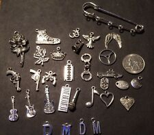 Depeche Mode Inspired Customizable  Kilt Pin 5 Silver Charms Purse Visor Rose