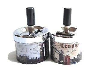 London Ashtray Spinning Metal Cigarette smoking small size set of 2pcs.