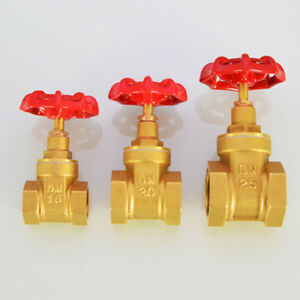 1/2''~1'' BSP Brass Female X Female Gate Valve with Red Wheel Handle Plumbing